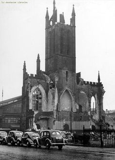St Matthew's Church on Liverpool Road being demolished in 1951/1952 - you can just see Lower Campfield Market Hall (then the City Exhibition Hall, now MOSI's Air & Space Hall) in the background.  Did you know that this church was designed by Sir Charles Barry, who also designed the Houses of Parliament?