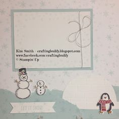 Adorable scrapbook page using the Snow Place Photopolymer and Wonderland stamp sets from Stampin' Up.  I used the Brick Wall Textured Impressions embossing folder to create the penguin's igloo.  Isn't it cute?  If you enjoyed this creation, check out my others at craftingbuddy.blogspot.com   Happy Stampin'!