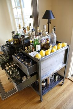 #Industrial style #antique #bar cart, fully stocked of course!