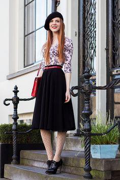 Outfit   Floral Print Top - Mix or Ditch Challenge Outfit #3 - @hm skirt & belt, @verycherryshop polka dot tights - Retro Sonja   Vintage Fashion Blog - www.retrosonja.com