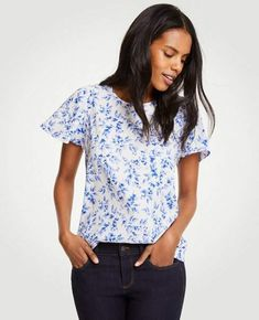 6fc80d6418faab Ann Taylor Lilac Shirred Shoulder Tee Business Outfits, Trendy Outfits,  Fashion Outfits, Tee