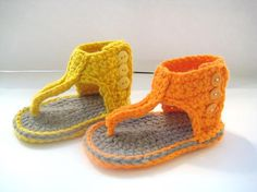 Crochet Pattern for Baby Sandals or Booties por CrochetBabyBoutique