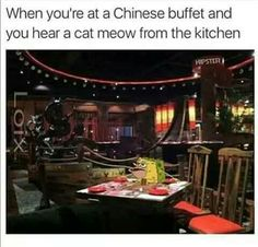 This legit happen one time to me and family at a Chinese drive thru and with a dog bark instead I swear.