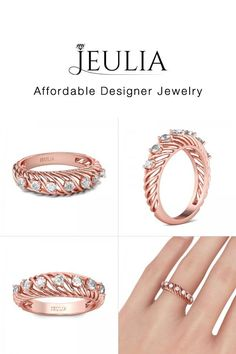 Jeulia offers premium quality jewelry at affordable price, shop now! Real Gold Jewelry, Jewelry Rings, Jewlery, Right Hand Rings, Womens Wedding Bands, Beautiful Rings, Band Rings, Fashion Rings, Diamond Rings