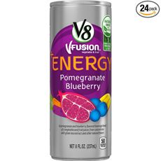 """V8 +Energy, Pomegranate Blueberry About the Product Pack of twenty-four 8 ounce cans of juice (total of 192 ounces) Natural energy from green tea Blend of pomegranate and blueberry with 6 fruits and vegetables and green tea extract Only 50 calories with no added sugar Excellent source of B vitamins One combined serving of fruits and vegetables per serving Net weight:  237 ml or customized  Specification: Pack of 24 or customized Place of origin: Viet Nam  MOQ: 1 container 20"""" OEM/ODM"""