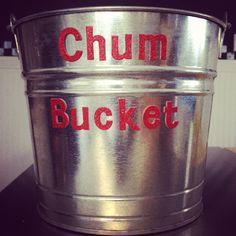 Chum bucket to serve chum on a stick (corn dogs) at SpongeBob birthday!