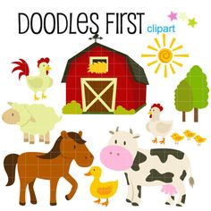 Farm Animals Barnyard Digital Clip Art for Scrapbooking Card Making Cupcake Toppers Paper Crafts
