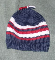 Patriotic Red White and Blue Knitted Hat by nelliesknit on Etsy, $15.00
