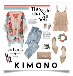 """Kimono!"" by diane1234 ❤ liked on Polyvore featuring Chesca, Bare Escentuals, Christian Louboutin, Nly Shoes, Wrap and Laura Geller"