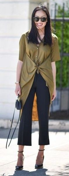 #summer #fashion #outfitideas Olive + Black