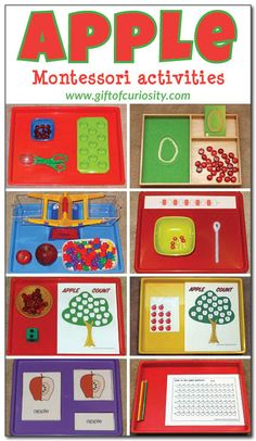 A great collection of apple-themed Montessori activity ideas for kids ages 2-5. I love the math counting tray! || Gift of Curiosity