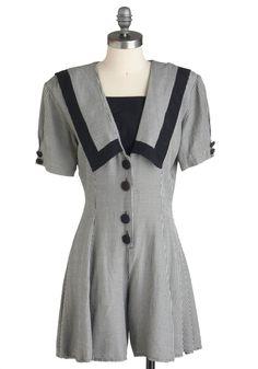 Vintage Je ne Sais Quad Romper - Black, White, Checkered / Gingham, Buttons, 80s, Short Sleeves