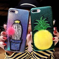 Cute 3D Embroidery Cactus / Pineapple Soft Case for iPhone 8 Plus / 8 / 7 Plus / 7 / 6S / 6 #iphone8pluscase