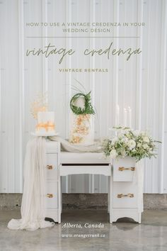 Vintage credenzas + dressers are a perfect option for cake and dessert tables. Rent vintage furniture for your wedding at Orange Trunk Vintage Rentals. Image by Chic + Grace Studios. Wedding Vendors, Wedding Events, Weddings, Dessert Tables, Cake Table, Vintage Furniture, Furniture Decor, White Credenza, Design Show