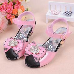 Pink Patent Leather Flower Girl Girls Pageant Party Heels Sandals Shoes SKU-133236