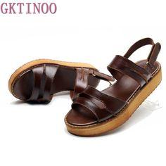 32.96$  Buy now - http://ali7vl.shopchina.info/1/go.php?t=32806845607 - 2017 New Women Platform Sandals Genuine Leather Women Gladiator Sandals Fashion Retro Handmade Wedge Shoes Woman Size 35~40   #magazineonline