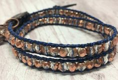 Navy and copper beaded leather wrap bracelet Navy And Copper, Copper Color, Friendship Yoga, Wrap Bracelets, Chan Luu, Organza Gift Bags, Glass Beads, Two By Two, Metal