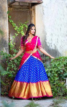 Half Saree Lehenga, Saree Dress, Bridal Lehenga, Saree Wedding, Half Saree Designs, Bridal Blouse Designs, Lehenga Designs, Wedding Dresses For Girls, Indian Wedding Outfits