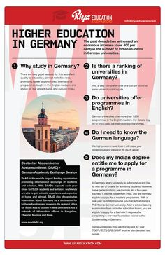 Higher Education in Germany !!! Confused about your higher education? Germany can be a best option for you. Why wait? Get in touch with Riya Education and know more about abroad education in Germany.  Visit our website for contact details.