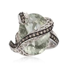 Brown diamond snake slinks around a 10.00 carat green amethyst. Black rhodiumed sterling silver ring. >>Click on the Amethyst Ring to browse our selection at Ross-Simons.