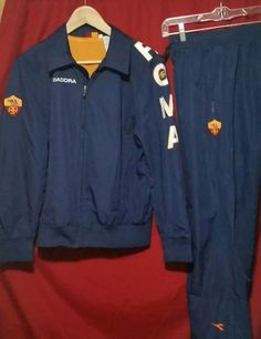 AS Roma Track Suit Jacket Pants Soccer Serie A Italy Football Futbol Rare Small #Diadora #ASRoma