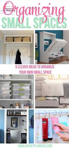 Organizing Small Spaces - I Heart Planners 6 clever ideas to organize your own small space.