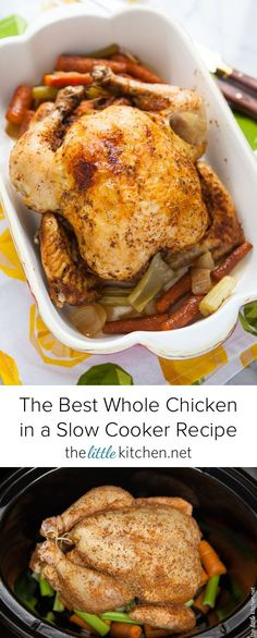 {so easy to make and you'll never roast a chicken again!} The Best Whole Chicken in a Slow Cooker Recipe from thelittlekitchen.net