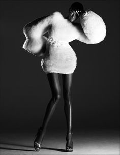 Sculptural Fashion - fluffy white dress with dramatic silhouette; artistic fashion // Shao Yen Chen
