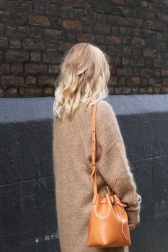 Mansur Gavriel mini bucket bag & Acne raya cardigan. Via Mija