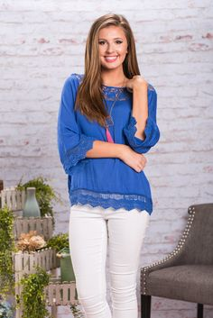 Dare To Be Detailed Top, Royal Blue || Why wear boring clothes when you could wear super detailed adorable ones like this top! All that crochet trim is just too cute! It adds so much interest to this otherwise plain top!