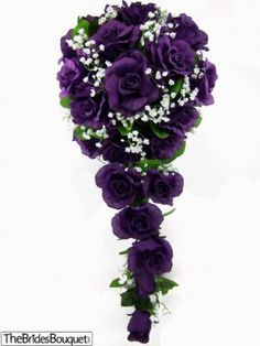 Purple Silk Rose Cascade - Bridal Wedding Bouquet (change out a few of those for red roses and add a little more greenery and thats what i want mine to look like)