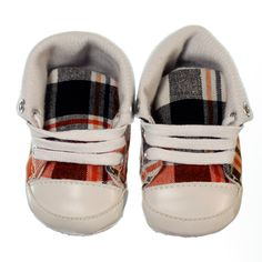 Fashionable pre-walker sneaker for boys. Chequered black, white and orange design with white laces. Sneakers are versatile allowing you to create two distinct looks- you can keep them ankle high and lace all the way to the top or fold down the tops and only lace up ½ way making them a low rise sneaker. Sneakers have a non-slip sole and are lightweight and easy to wear.  Price: $29.95  http://www.bubbaboosh.com.au/boys-shoes/Max