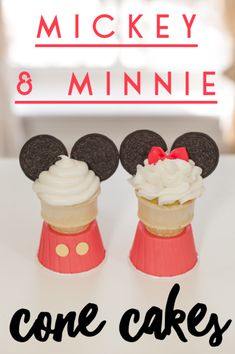 Super easy Disney cone cakes & a video on Minnie's candy bow.  What are cone cakes? Cupcakes baked inside ice cream cones!  Some call them ice cream cone cupcakes.  Our cone cake bases keep them from falling over while baking! Great for kids and adults! #bringJOYhome #recipes #dessert #Mickey&Minnie