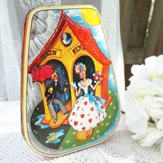 Vintage Horner Candy Tin English Spring Rain go Away box nursery rhyme German Alpine Weather house vanity trinket storage decor by WonderCabinetArts