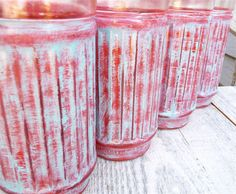 Urban Chic, Painted Glass Tumbler Glasses, Red and Turquoise Shabby Chic Set.  via Etsy.