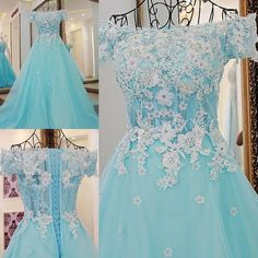 AHS056 New Arrival A-Line Blue Tulle Prom Dresses with Flower Appliques 2017
