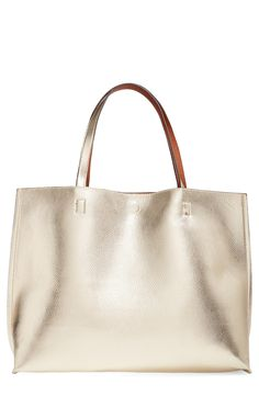 Street Level Reversible Faux Leather Tote & Wristlet in Gold/Cognac