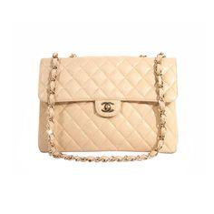 Chanel jumbo beige caviar leather maxi flap bag