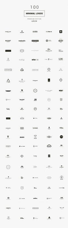 100 Minimal Logos - Premium Kit by DesignDistrict on Creative Market