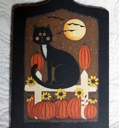 Folk Art Halloween Wood Bread Board  MADE TO by RavensBendFolkArt