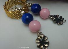 Four Leaf Clover EarringsGlass BeadsPurple by LTLDizaynDIY on Etsy