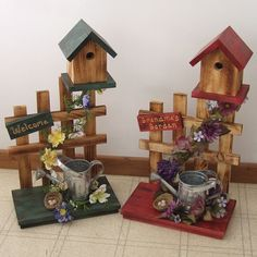 Fence with Watering Can Birdhouse -Amish Picket Fence with Watering Can Birdhouse - Amish Handmade Picket Fence Birdhouse Rustic Home Decor Primitive lantern candle holder decor