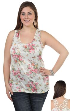 Deb Shops plus size #floral print tank with crochet back