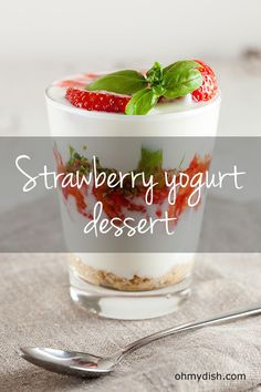 Simple, every weekday strawberry yogurt dessert. Ready in about 10 minutes, recipe for 4 people. It's sweet, bitter and perfect for after a heavy meal.
