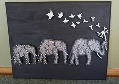 3 Elephants with Flower and Birds 11x14 String Art by Beachmade