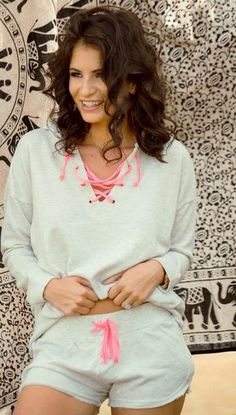 Lace up lounge wear from the Sydney Bass Favorites collection
