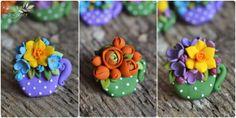 Little teacups with flowers- polymer clay spring flowers by Zubiju Martisoare cescute cu flori de primavara din fimo by Zubiju