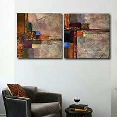 Stretched Canvas Print Art Abstract Transport Set of 2 – USD $ 69.99