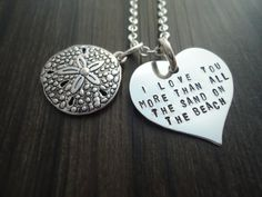 I love you more than all the sand on the beach Charm Necklace - Mom gift - Gift for Her on Etsy, $24.00