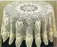 Crochet Lace Pineapples in the Round free crochet pattern - 5 Free Crochet Tablecloth Patterns - Tablecloths are perfect for dressing up your kitchen table. With these 5 free crochet tablecloth patterns you'll have an amazing tablecloth for any event. Crochet Tablecloth Pattern, Crochet Doily Patterns, Lace Patterns, Thread Crochet, Filet Crochet, Crochet Motif, Knit Or Crochet, Crochet Designs, Crochet Crafts